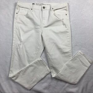 Mossimo white high waist ankle skinny distressed